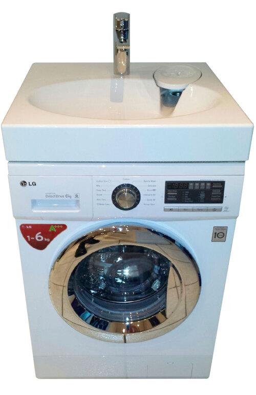 LG FH296NDA3 med håndvask og armatur.
